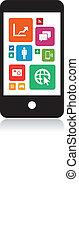 klug, telefon, technologie, app