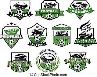klumpa ihop sig, ikonen, fotboll, isolerat, vektor, fotboll