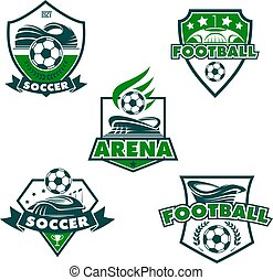 klumpa ihop sig, ikonen, klubba, fotboll, vektor, fotboll