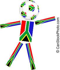 klumpa ihop sig, kopp, afrika, värld, 2010, syd