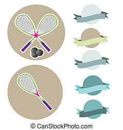 klumpa ihop sig, squash, racketar