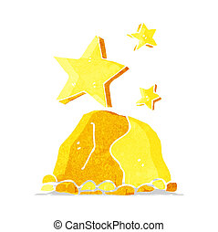 klumpen, karikatur, gold