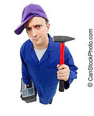 klumpig, repairman, med, hammare