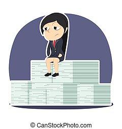 klus, haar, zittende , businesswoman, verdrietige , stapel, onvolledig