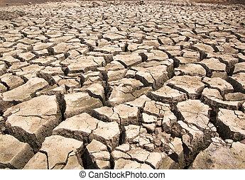 klyftan, torka, bryter, jord