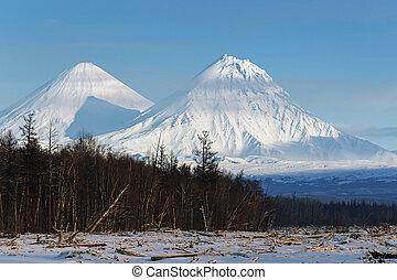 Klyuchevskoy Volcano and Kamen Volcano on Kamchatka Peninsula