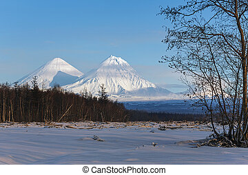 Klyuchevskoy Volcano and Kamen Volcano on the Kamchatka Peninsula