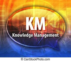 KM acronym word speech bubble illustration - word speech...
