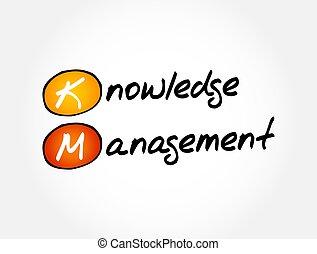 KM - Knowledge Management acronym, business concept background
