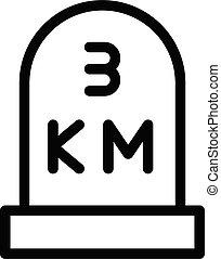 km vector thin line icon