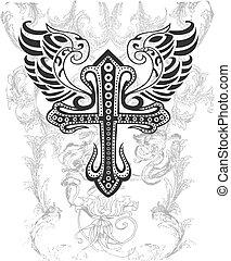 kmenový, kříž, s, křídlo, ilustrace