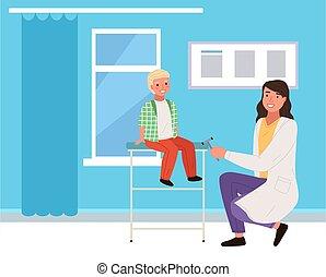 knä, pojke, knackningar, neurologen, reflexes., möte, läkare, s, speciell, hammare, kontroll