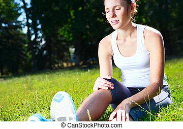 knä, skada, för, ung, atlet, runner.