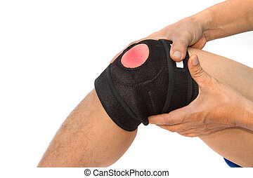 knä spänn, för, acl, knä, injury.sport, skada