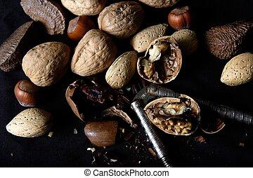 knäckt, blandad, nötter