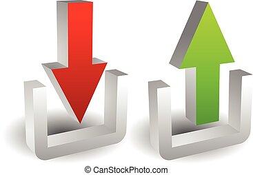 knäppas, begrepp, ladda upp, insida, exportera, import, arrows., ladda ner, utanför, eller, 3