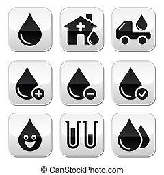 knäppas, donation, vektor, sätta, blod