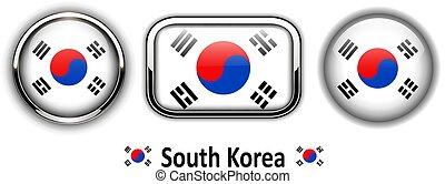knäppas, flagga, södra korea