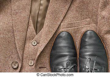 knäppas, jacka, tweed, detaljerna, dens