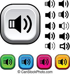 knäppas, vektor, högtalare, ikonen