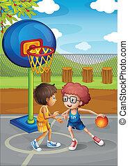 knaben, basketballgericht, zwei, spielende