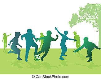 knaben, fußball, spielende