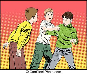 knaben, rowdy, boys., jugendlich, fight., faust, kämpfen