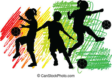 knaben, silhouetten, fußball, mädels, kinder