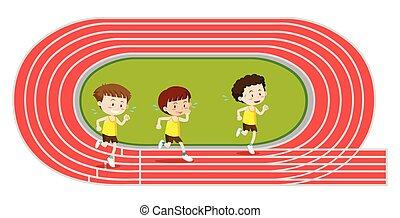 knaben, training, rennender , rennen