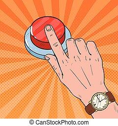 knald kunst, mandlig, hånd, påtrængende, en, stor, rød, button., nødsituation, call., vektor, illustration