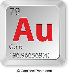 knap, klaviatur, guld, element