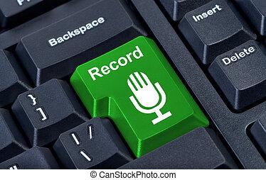 knap, rekord, hos, microphone.