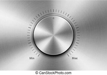 knapp, cirkulär, closeup., driva, illustration, strukturerad, realistisk, volym, vektor, metallisk, mininmum, stål, tillverkning av, design, playback, metall, block, mall, knob., maximum., cirkel, kontroll, silver, krom