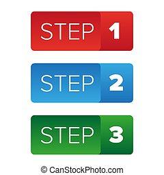 knapp, en, steg, två, tre