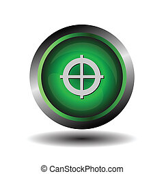 knapp, grön, måltavla, runda, glatt