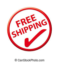 knapp, gratis, skeppning, röd