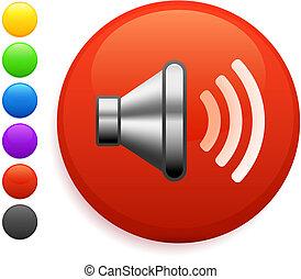 knapp, ikon, runda, högtalare, internet