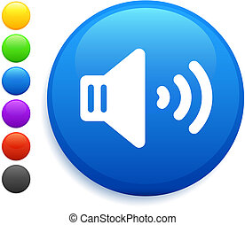 knapp, ikon, runda, internet, volym