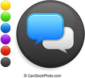 knapp, ikon, runda, pratstund, internet