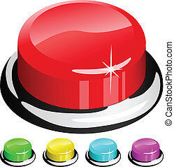 knapp, isolerat, illustration, vektor, vit röd, 3