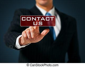 knapp trycka, oss, hand, toucha, kontakta, gräns flat, affärsman, avskärma