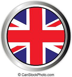 knapp, vit, england, flagga, uk