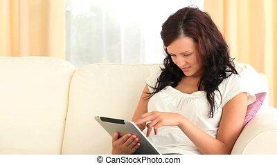 knappe , gebruik, tablet, vrouw