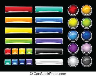 knapper, blanke, farverig