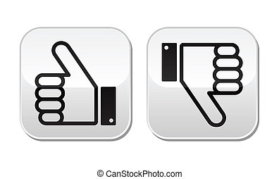 knapper, derned, sæt, tommelfinger oppe