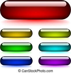 knapper, glødende, blanke