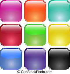 knapper, glas, skinnende, farverig
