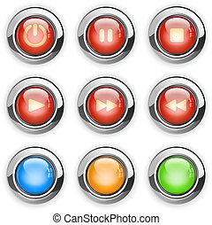 knapper, medier, spiller
