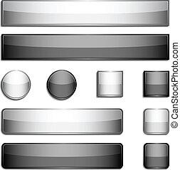 knapper, metal, blanke