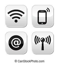 knapper, netværk, wifi, zone, internet